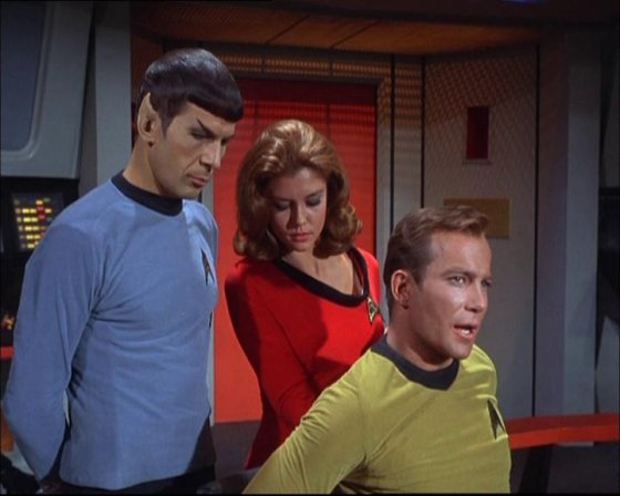 Spock is amused by Yeoman Backrub.